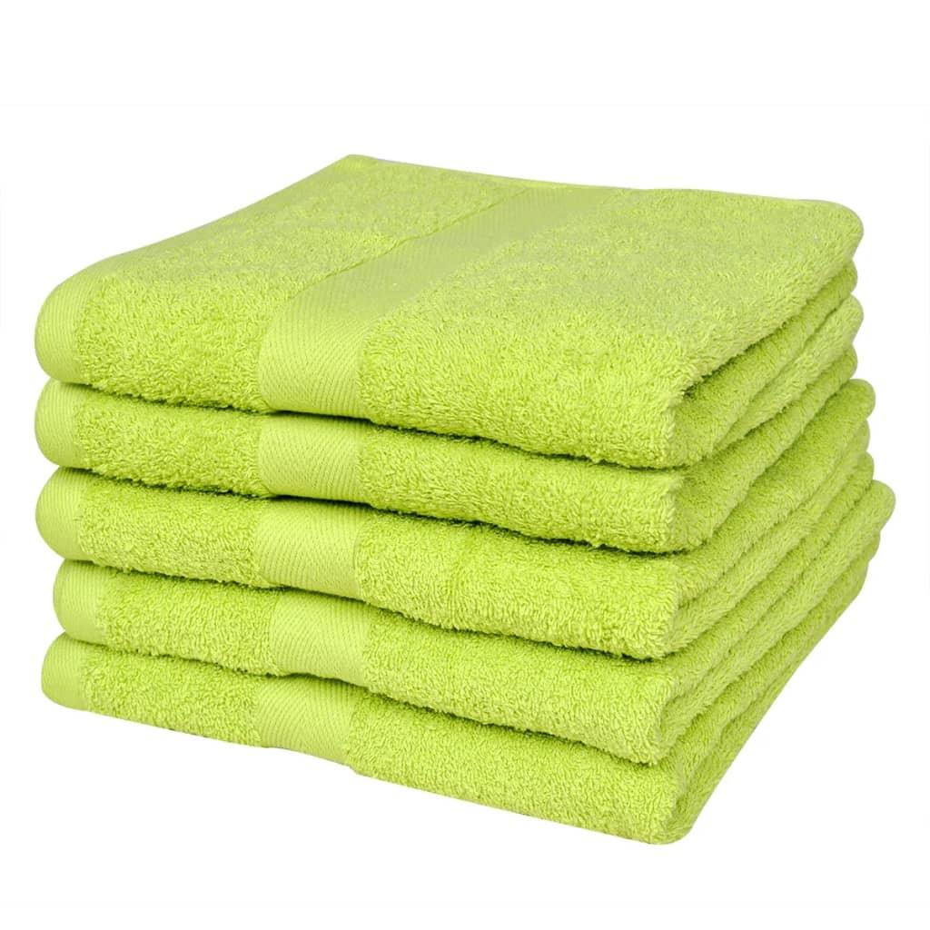 Duschhanddukar för hemmet 100% bumull 500 GSM 70 x 140 cm Äppelgrön 5 st