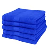 Home Hand Towel 100% Cotton 500gsm 50x100cm Royal Blue 5 pcs
