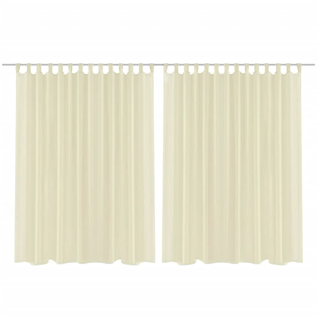 2 Cortinas Color Crema Transparentes 290 X 225 Cm