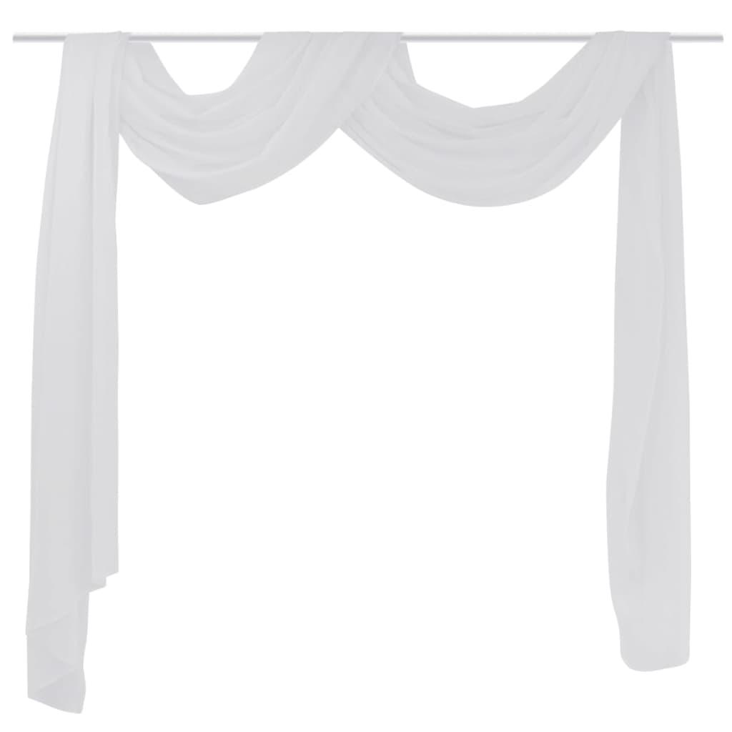 Cortina de gasa transparente 140 x 600 cm blanco tienda for Cortinas en blanco