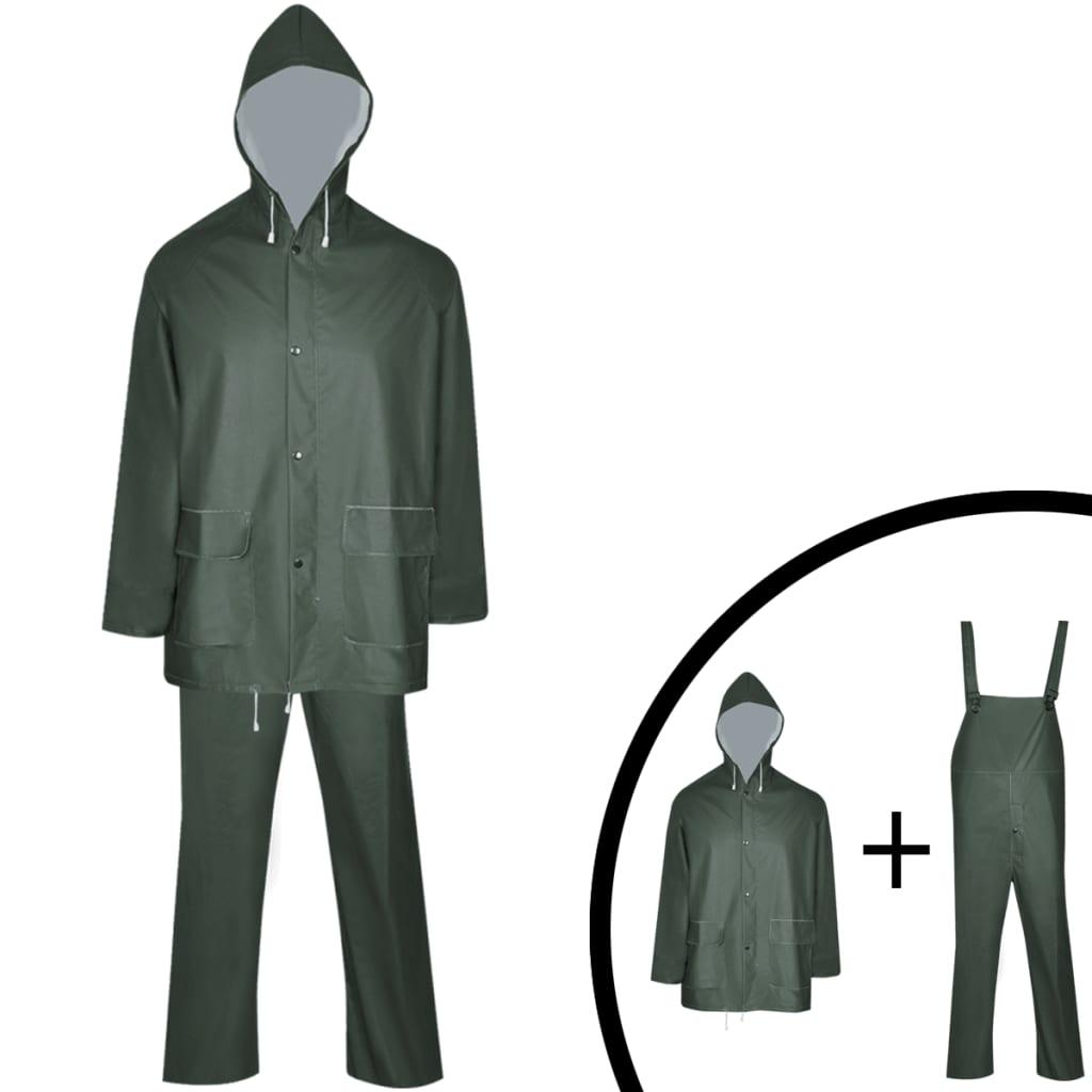 vidaXL 2 darabos vízálló nagy teherbírású csuklyás eső ruha méret L zöld