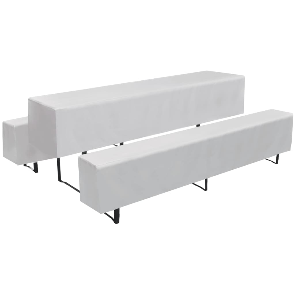 acheter 3 nappe pour table de brasserie et bancs blanc 225 x 70 x 35 cm pas cher. Black Bedroom Furniture Sets. Home Design Ideas