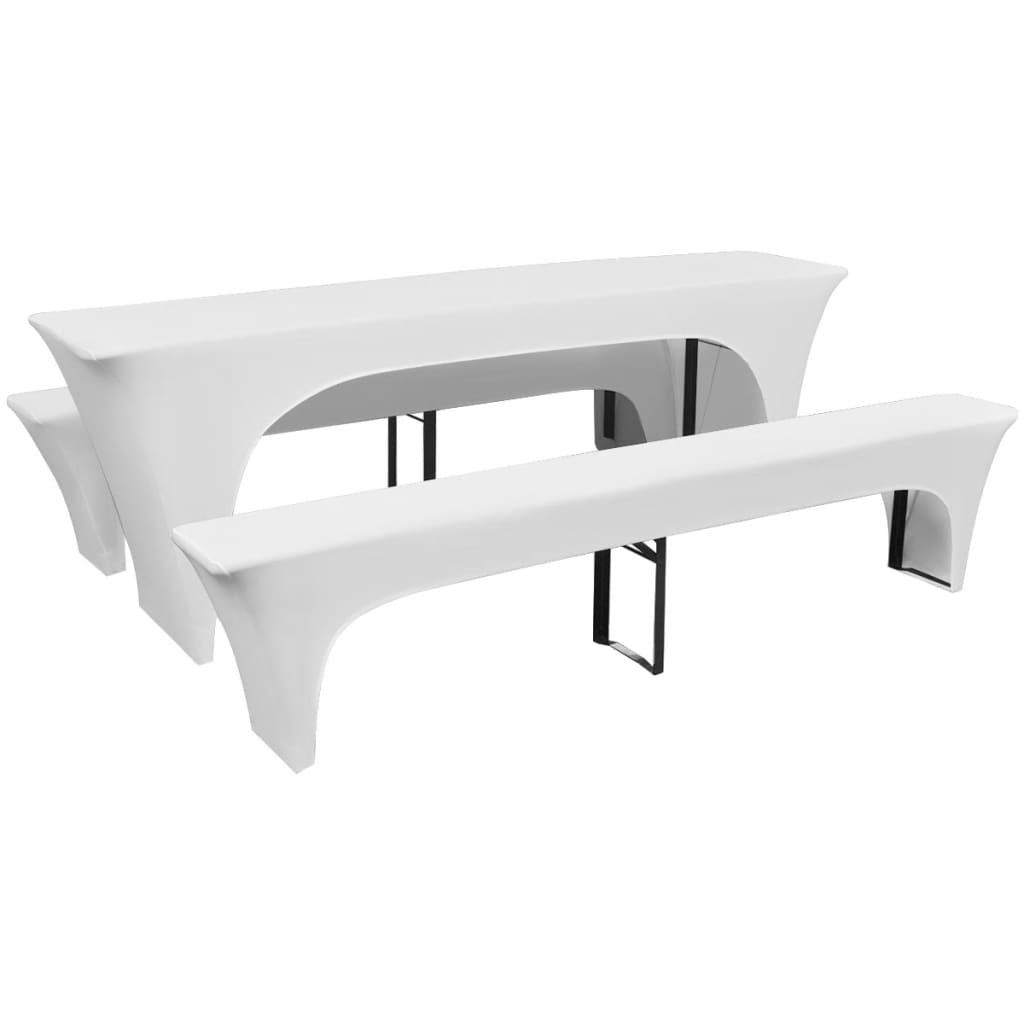 vidaXL 3 db nyújtható védőhuzat sör asztalnak és padnak 220x70x80cm fehér