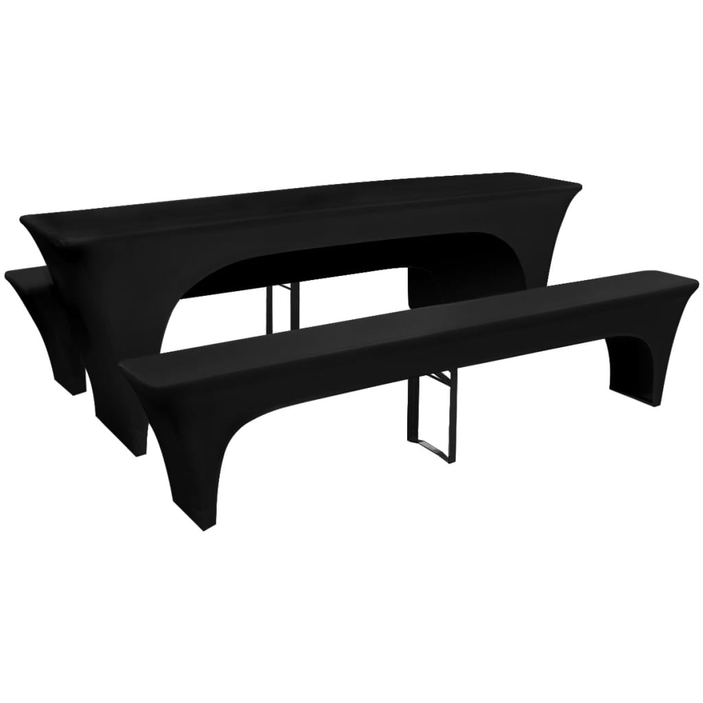 la boutique en ligne 3 nappe pour table de brasserie et bancs extensible noir 50 cm. Black Bedroom Furniture Sets. Home Design Ideas