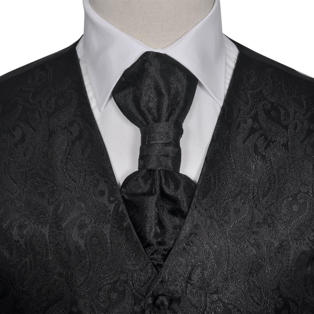 vidaXL-Set-Gilet-di-nozze-da-uomo-paisley-elegante-da-cerimonia-taglia-48-nero