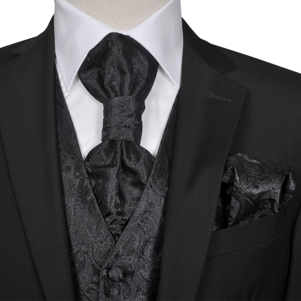 vidaXL Férfi Praisley esküvői mellény szett méret 48 fekete