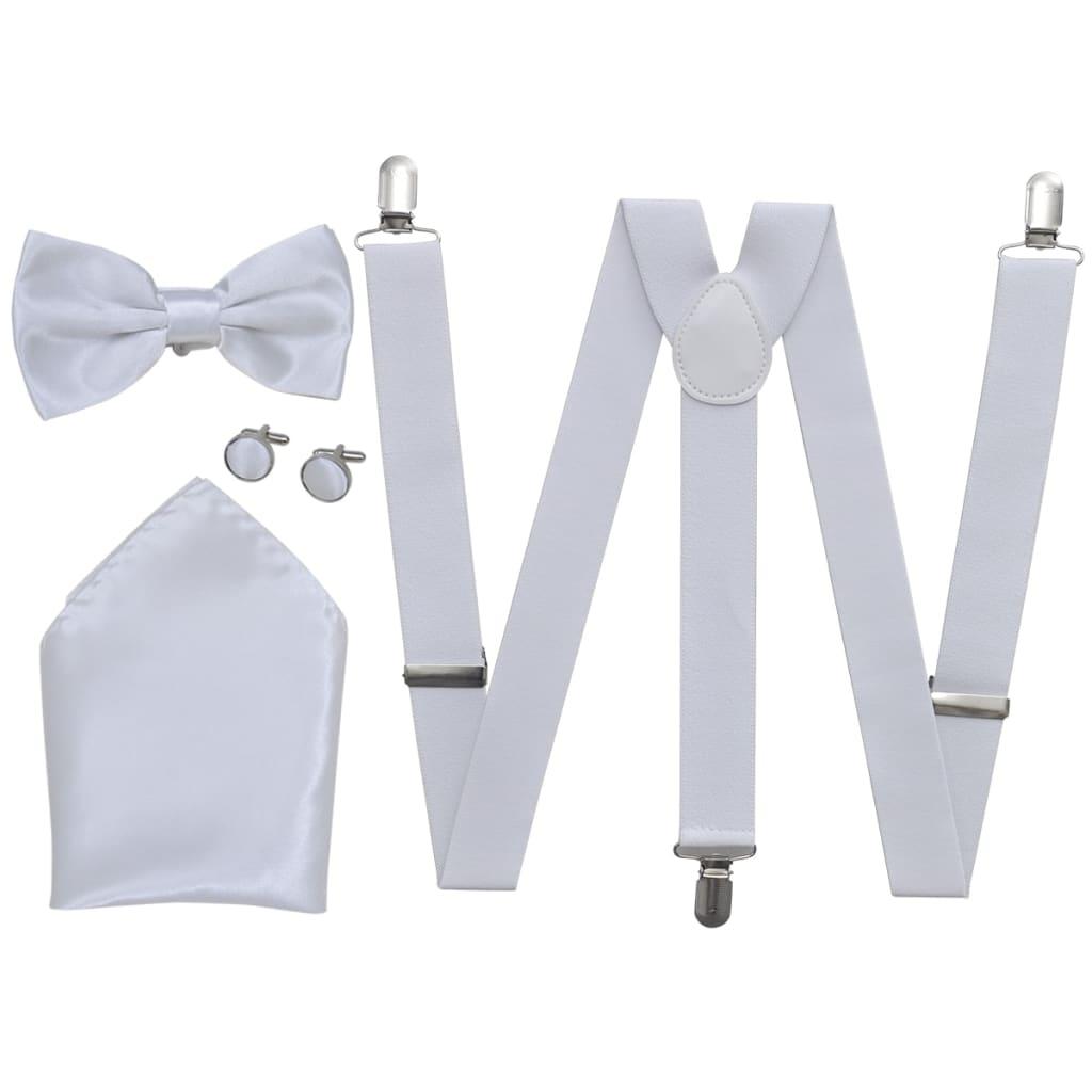 Afbeelding van vidaXL Smoking accessoires bretels en vlinderdas set mannen wit