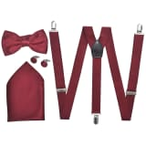 Smoking accessoires bretels en vlinderdas set mannen bordeauxrood