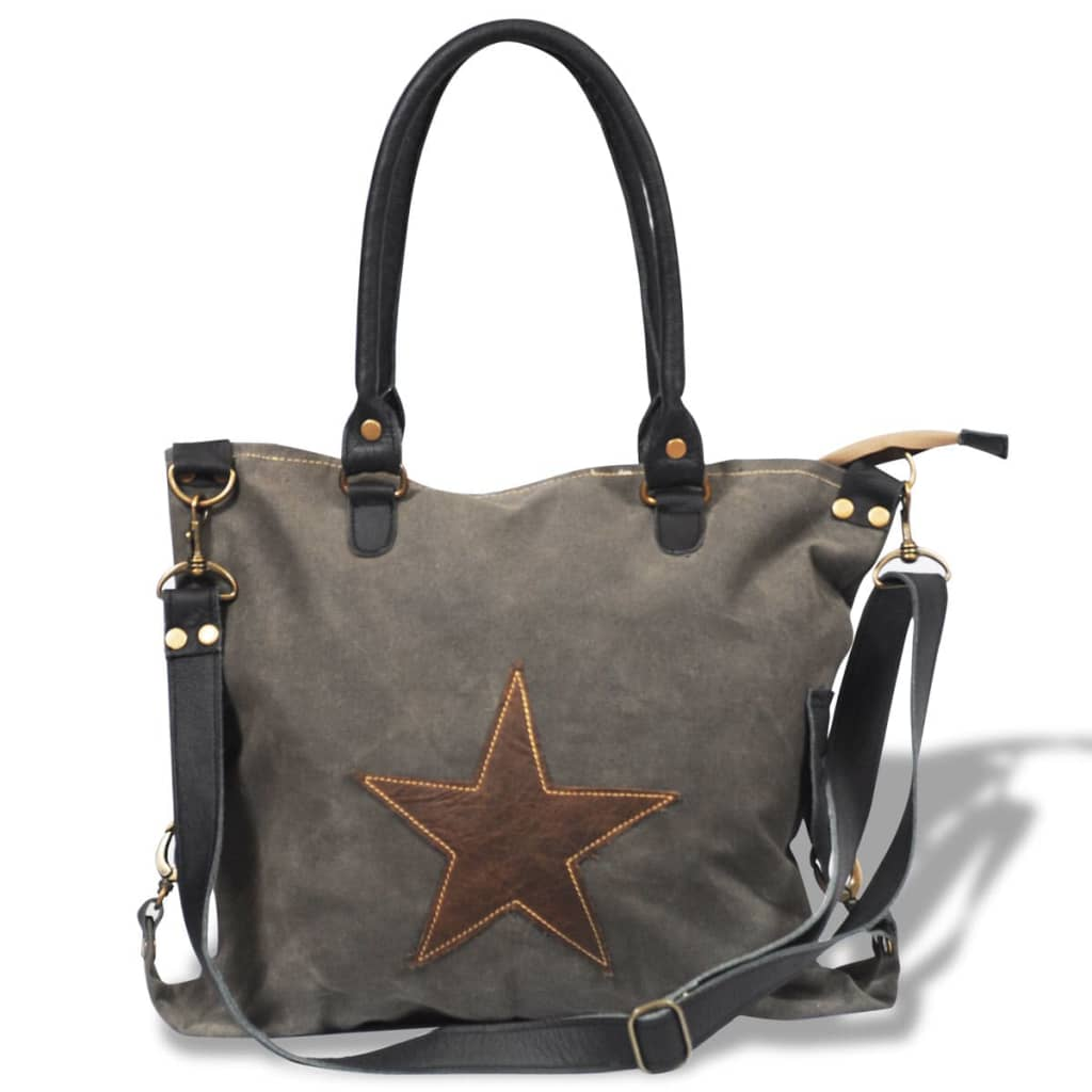 Vidaxl Co Uk Canvas Real Leather Shopper Bag With Star