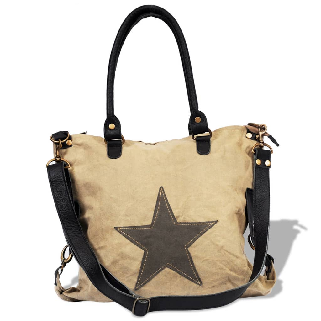 Canvas Real Leather Shopper Bag With Star Beige Vidaxl Co Uk