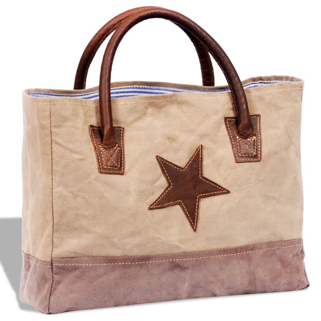 vida-xl-canvas-real-leather-shopper-bag-with-star-beige