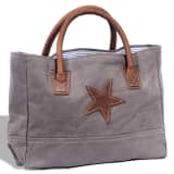 Canvas Real Leather Shopper Bag with Star Dark Grey