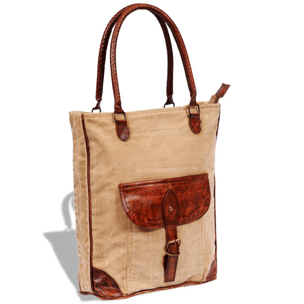 vidaXL Canvas Real Leather Shopper Bag with Buckle Beige