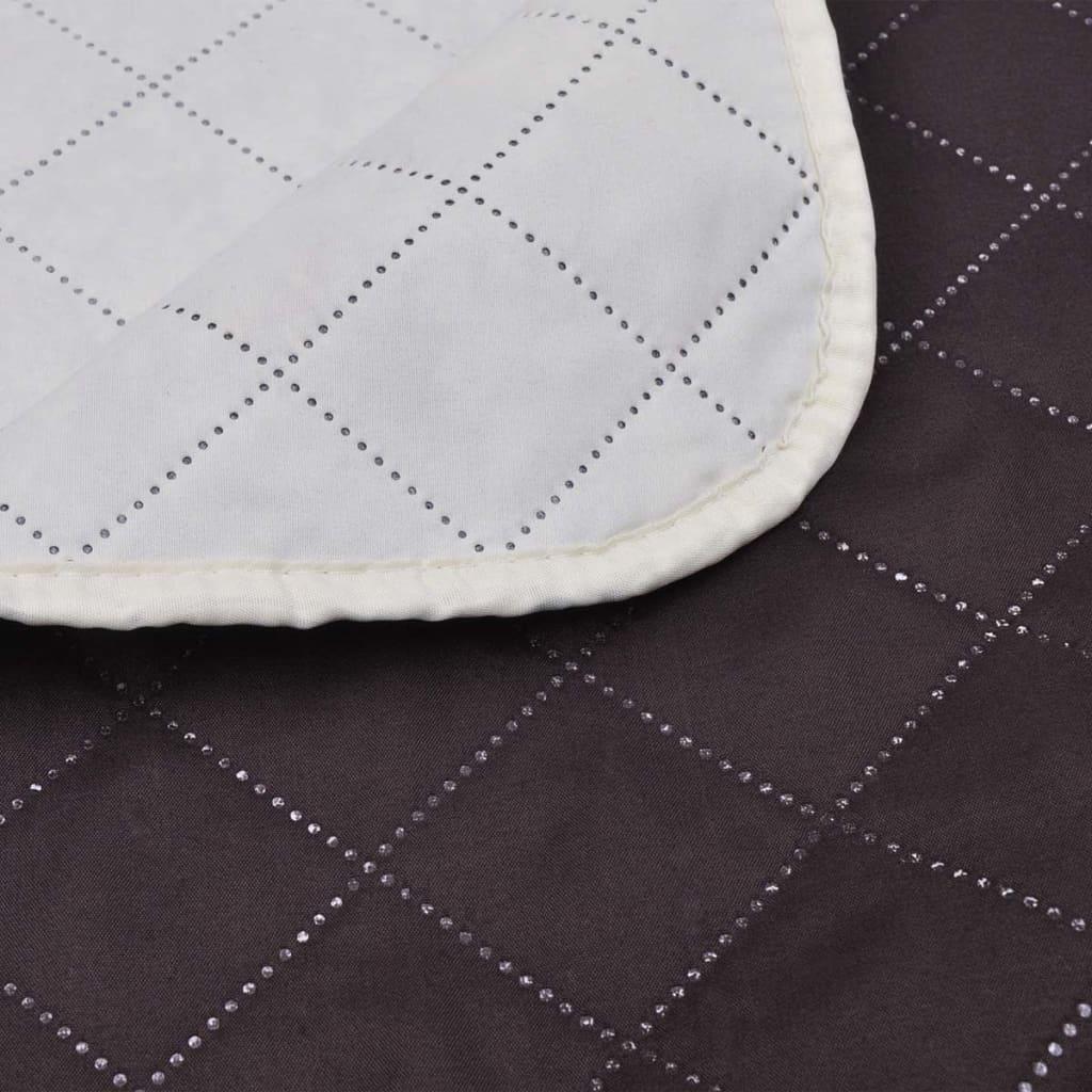 acheter couvre lits double c t s beige marron 220 x 240 cm pas cher. Black Bedroom Furniture Sets. Home Design Ideas