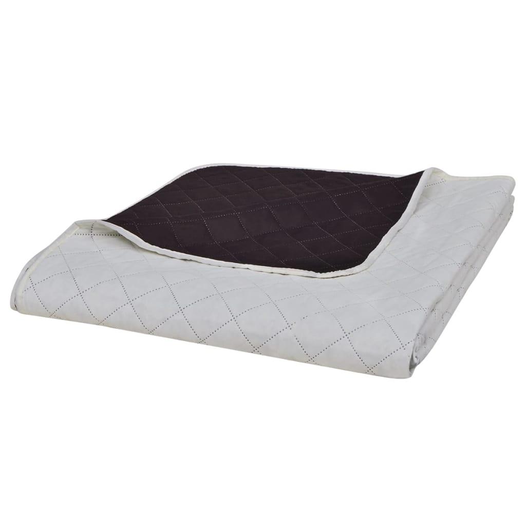 vidaXL Kétoldalú vattázott ágytakaró 230 x 260 cm bézs/barna