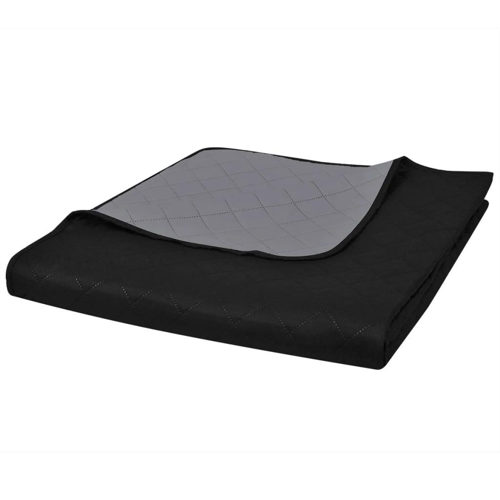 vidaXL Kétoldalú vattázott ágytakaró 170 x 210 cm fekete/szürke