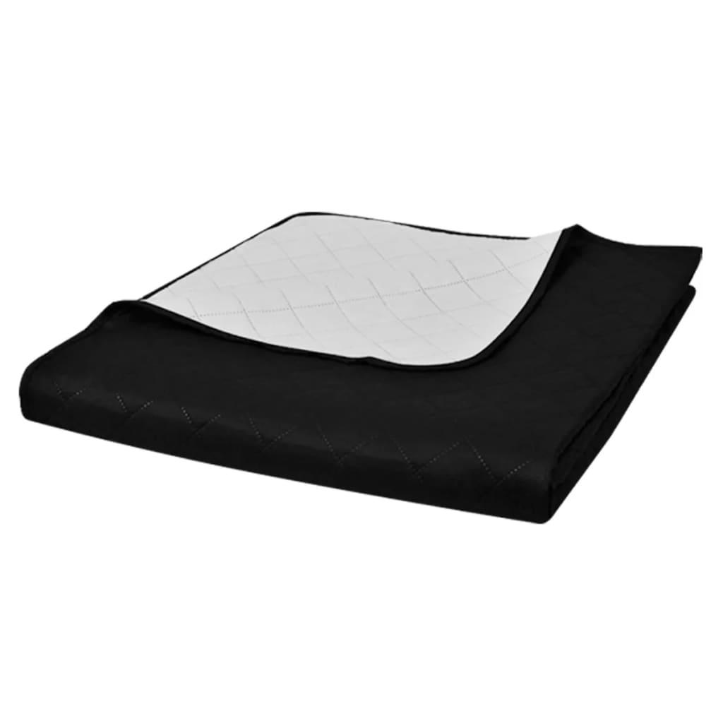 vidaXL Kétoldalú vattázott ágytakaró 170 x 210 cm fekete/fehér
