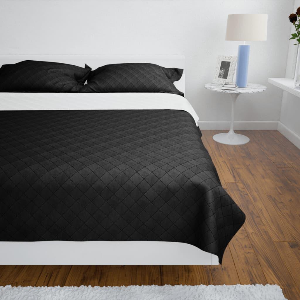 acheter couvre lits double c t s noir blanc 220 x 240 cm pas cher. Black Bedroom Furniture Sets. Home Design Ideas
