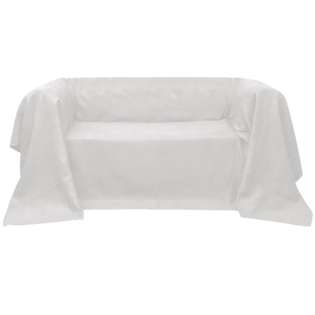 vidaXL Mikro szálas kanapé terítő / védőhuzat 270 x 350 cm krém szín