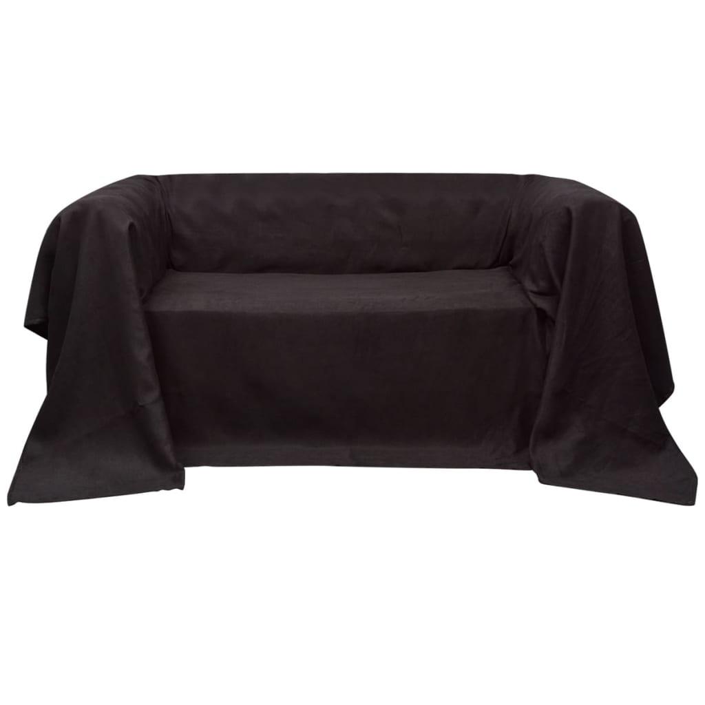 vidaXL Mikro szálas kanapé terítő / védőhuzat 270 x 350 cm barna