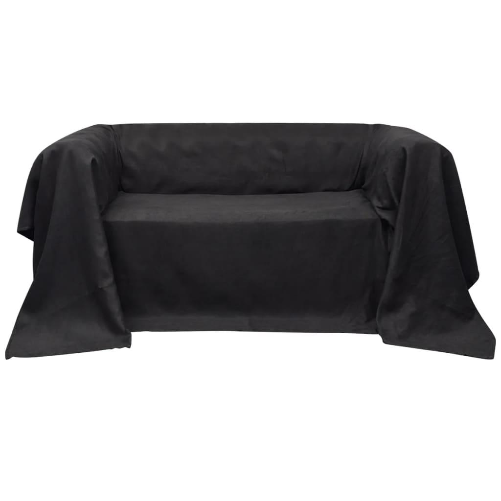 vidaXL Mikro szálas kanapé terítő / védőhuzat 270 x 350 cm antracit szín