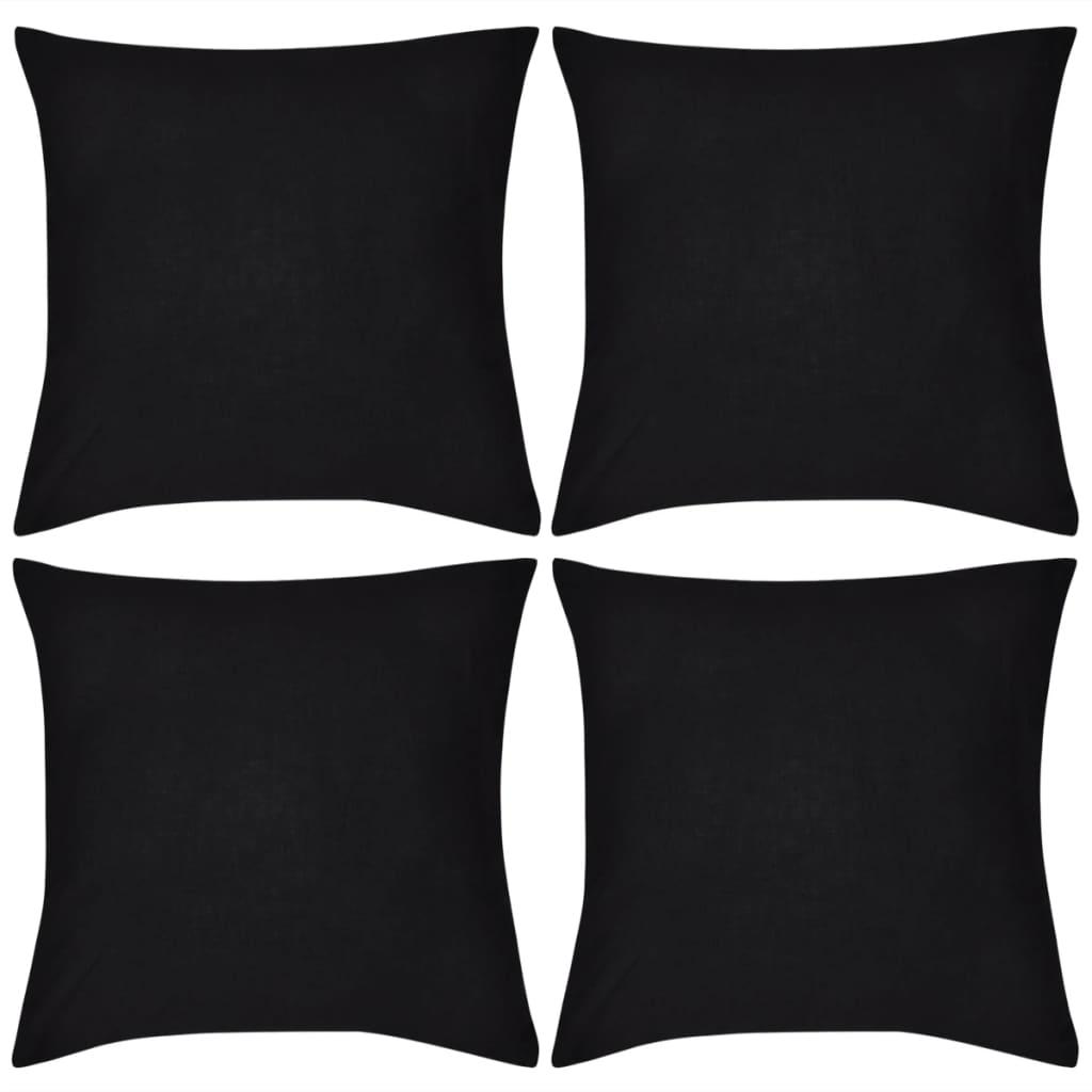 vidaXL 4 db pamut párnahuzat 80 x cm fekete