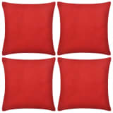 4 Red Cushion Covers Cotton 80 x 80 cm