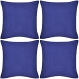 4 fundas azules para cojines de algodón, 80 x 80 cm