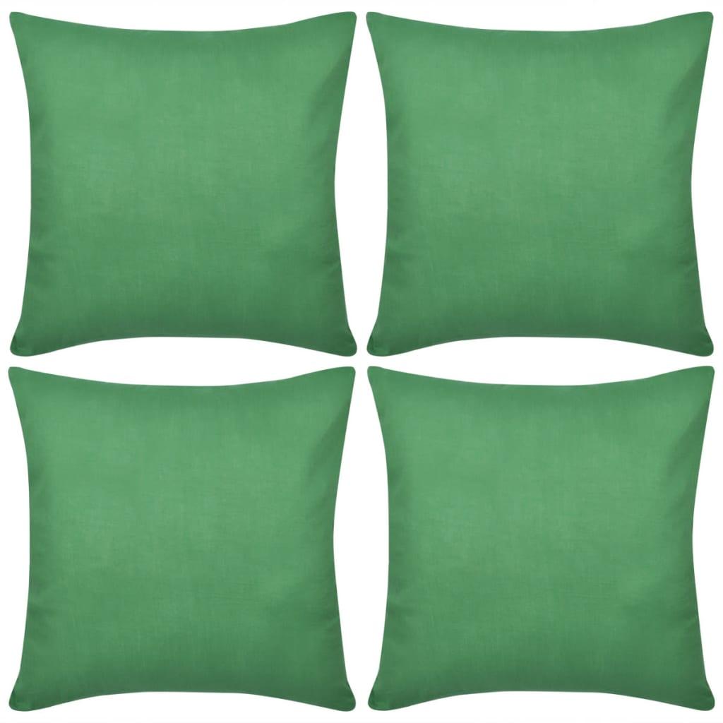 acheter 4 taies d 39 oreiller vert en coton 40 x 40 cm pas. Black Bedroom Furniture Sets. Home Design Ideas