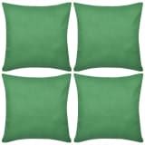 4 Green Cushion Covers Cotton 80 x 80 cm