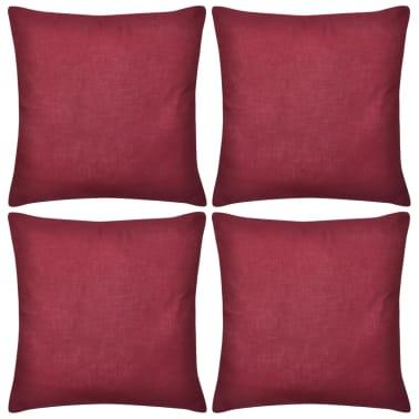 4 burgunderrote kissenbez ge baumwolle 50 x 50 cm im vidaxl trendshop. Black Bedroom Furniture Sets. Home Design Ideas