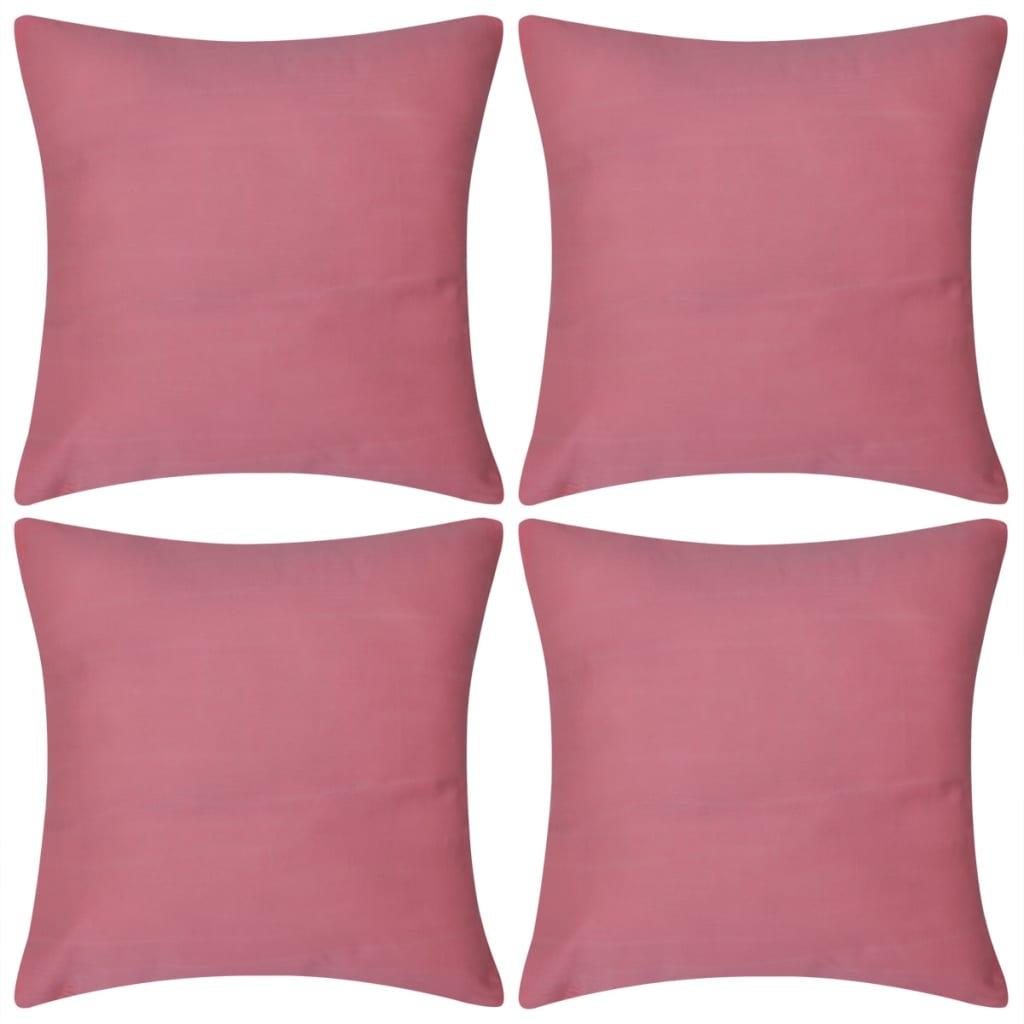 vidaXL 4 db vászon jellegű párnahuzat 80 x cm rózsaszín