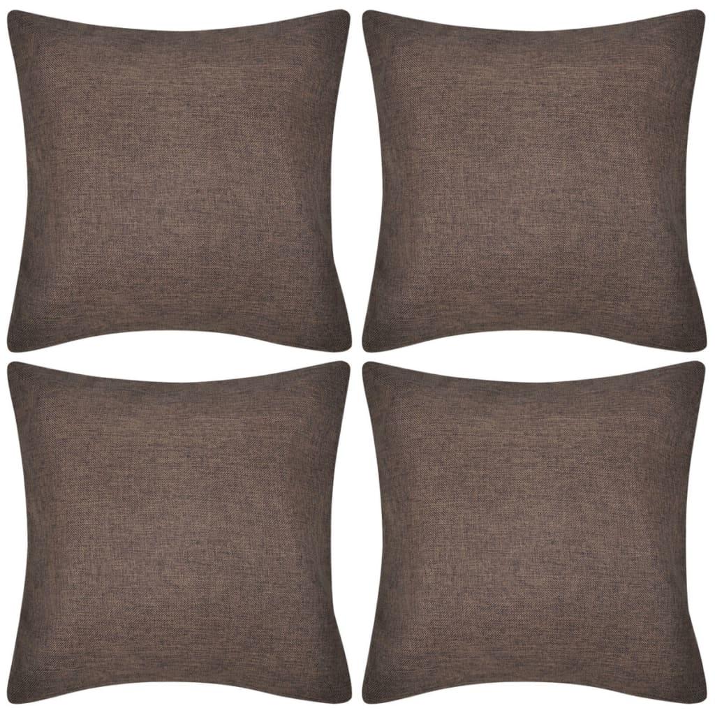 4 braune kissenbez ge leinenoptik 50 x 50 cm g nstig kaufen. Black Bedroom Furniture Sets. Home Design Ideas