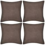 4 Brown Cushion Covers Linen-look 80 x 80 cm