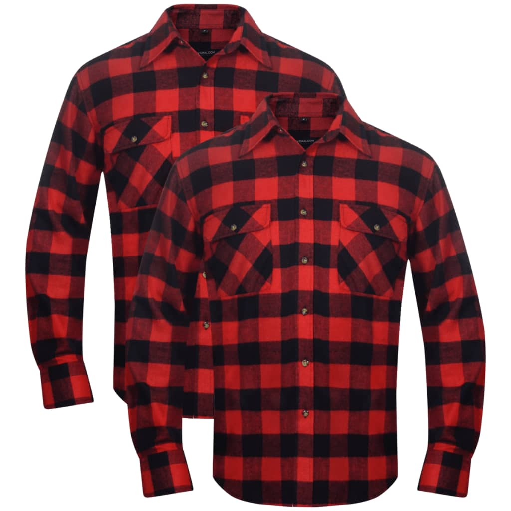 vidaxl-2-men-plaid-flannel-work-shirt-red-black-checkered-size-l