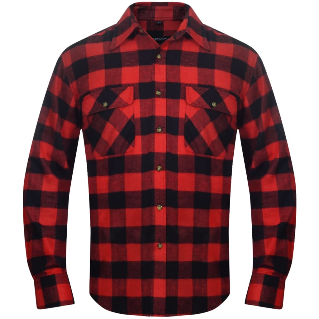 2 men 39 s plaid flannel work shirt red black checkered size for Mens xl flannel shirts