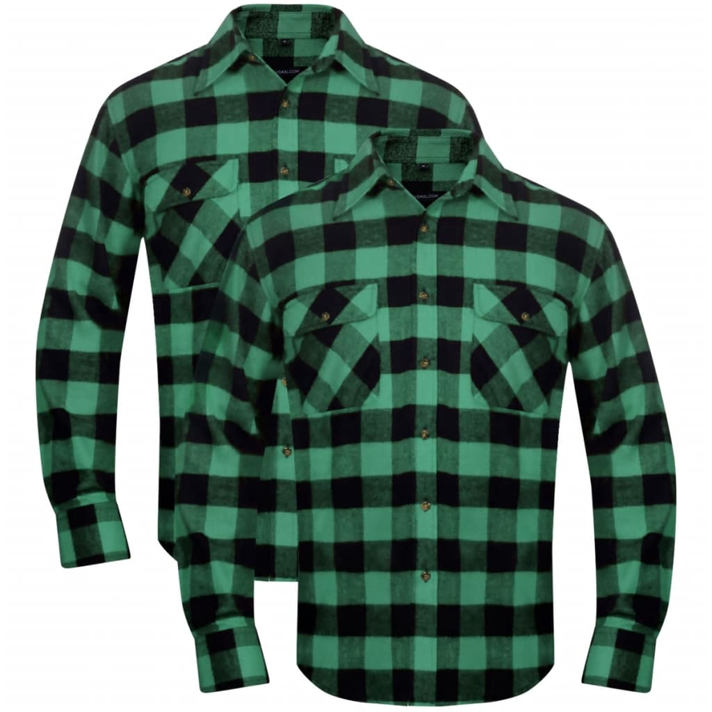 vidaxl-2-men-plaid-flannel-work-shirt-green-black-checkered-size-m