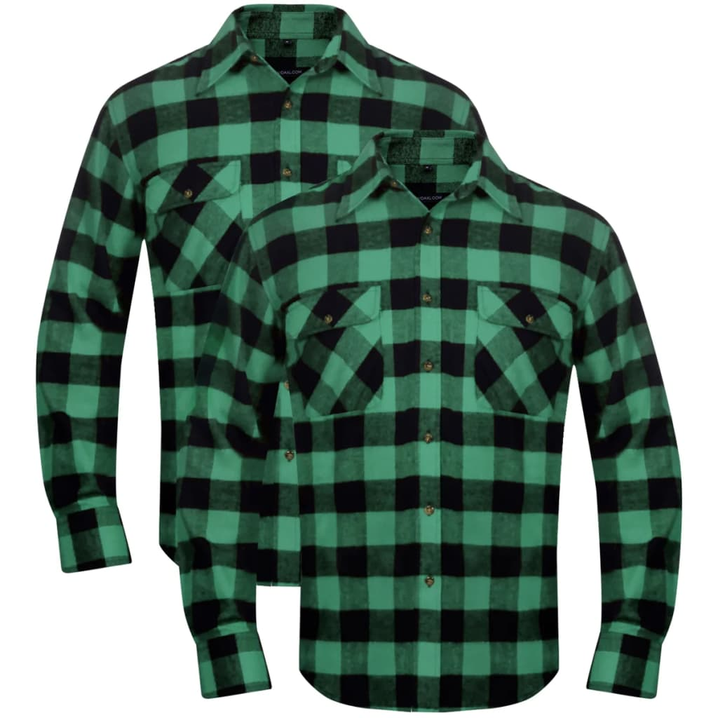 vidaxl-2-men-plaid-flannel-work-shirt-green-black-checkered-size-l