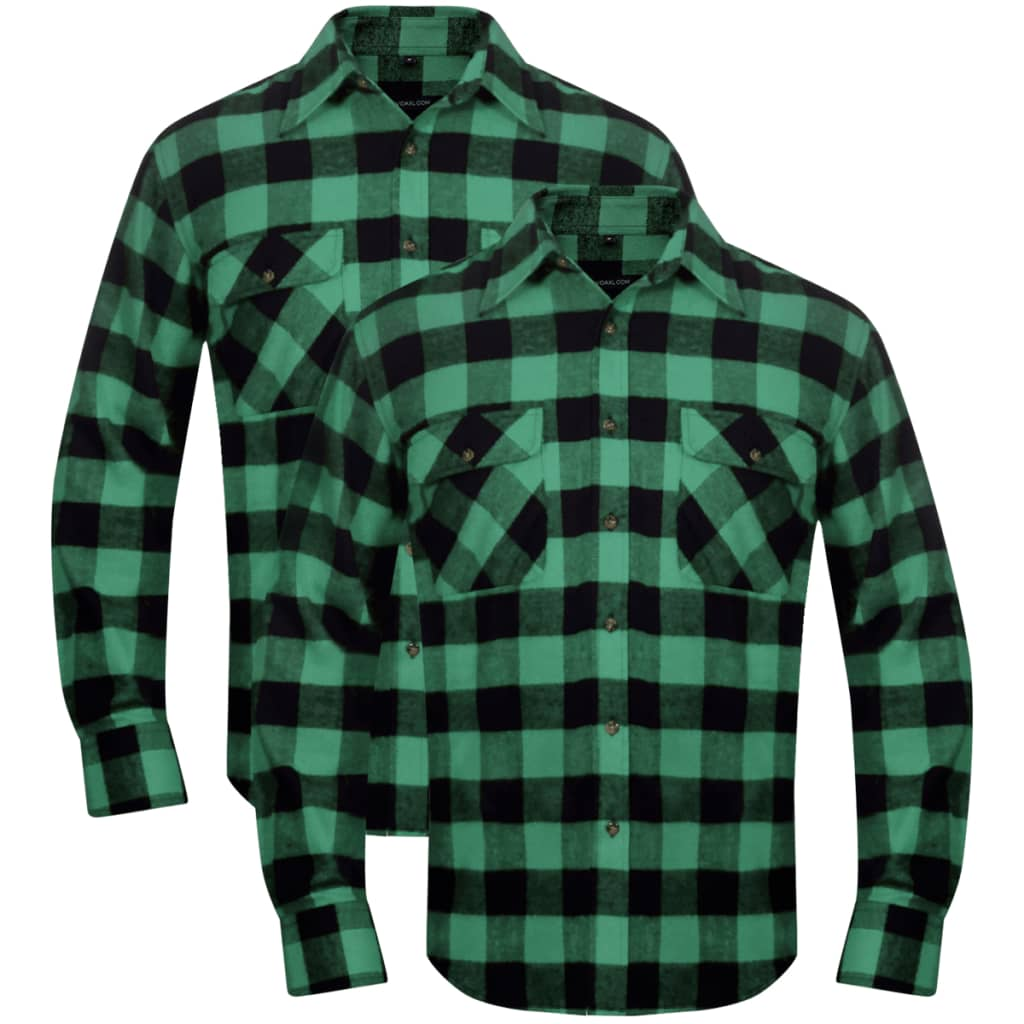 2 men 39 s plaid flannel work shirt green black checkered for Green and black plaid flannel shirt