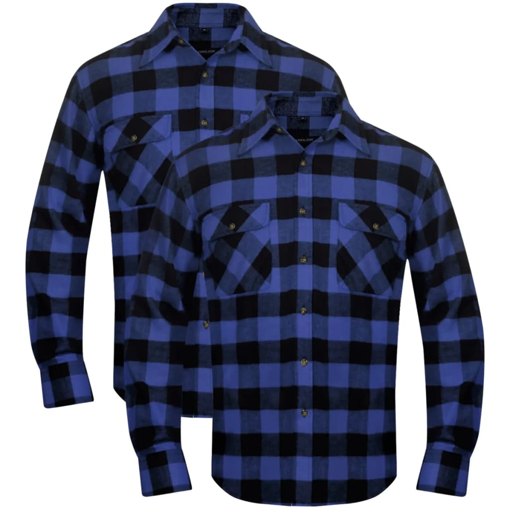 vidaxl-2-men-plaid-flannel-work-shirt-blue-black-checkered-size-l
