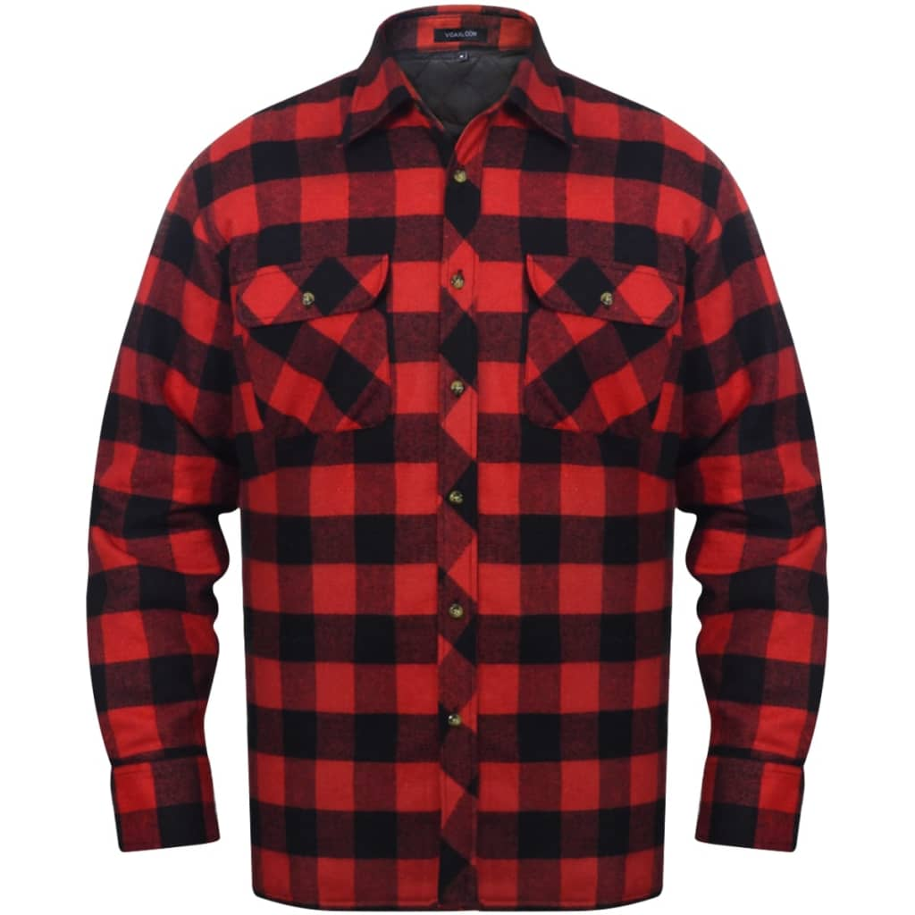 vida-xl-men-padded-plaid-flannel-work-shirt-red-black-checkered-size-m
