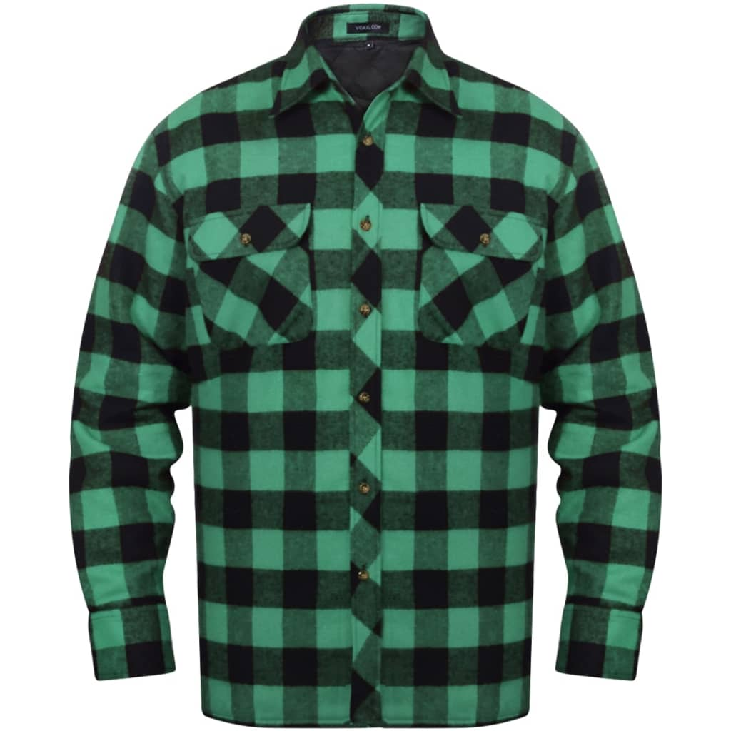 vida-xl-men-padded-plaid-flannel-work-shirt-green-black-checkered-size-m