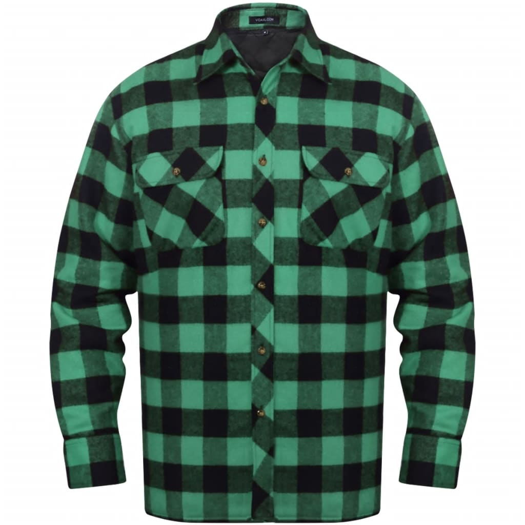 Men 39 s padded plaid flannel work shirt green black for Green and black plaid flannel shirt