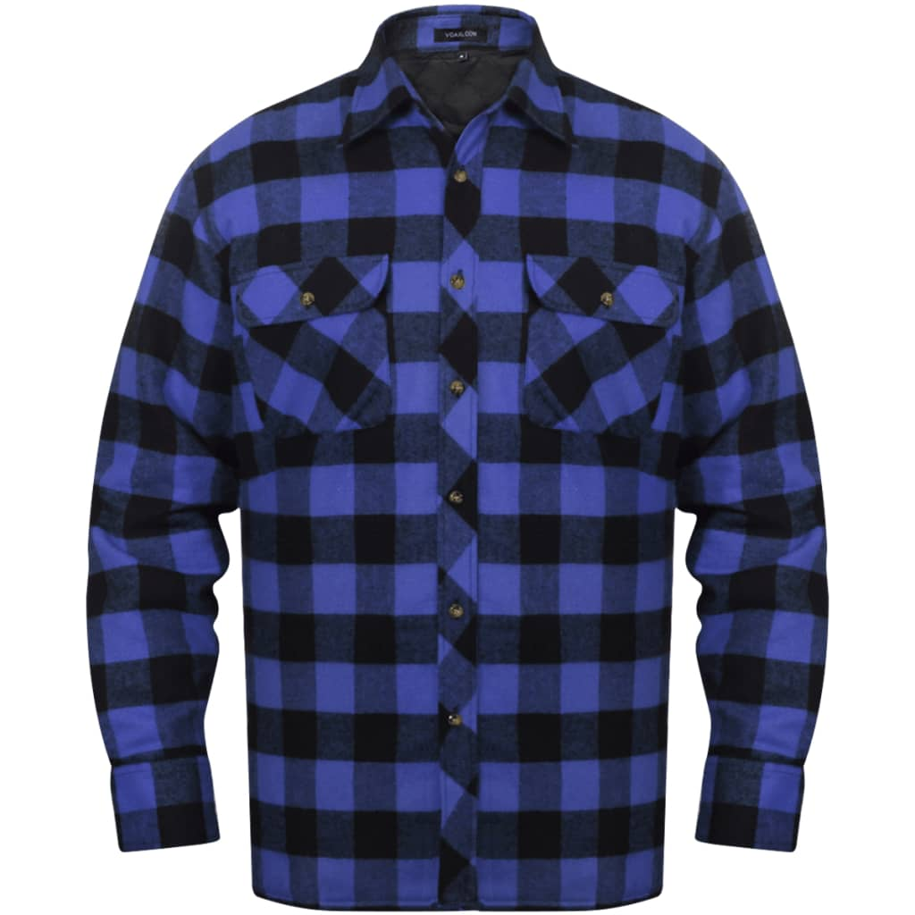 men 39 s padded plaid flannel work shirt blue. Black Bedroom Furniture Sets. Home Design Ideas