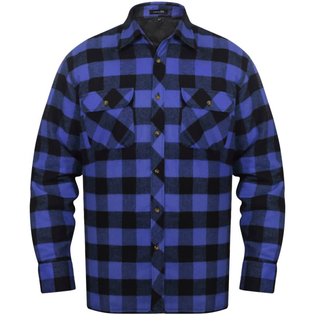 Men S Padded Plaid Flannel Work Shirt Blue Black Checkered