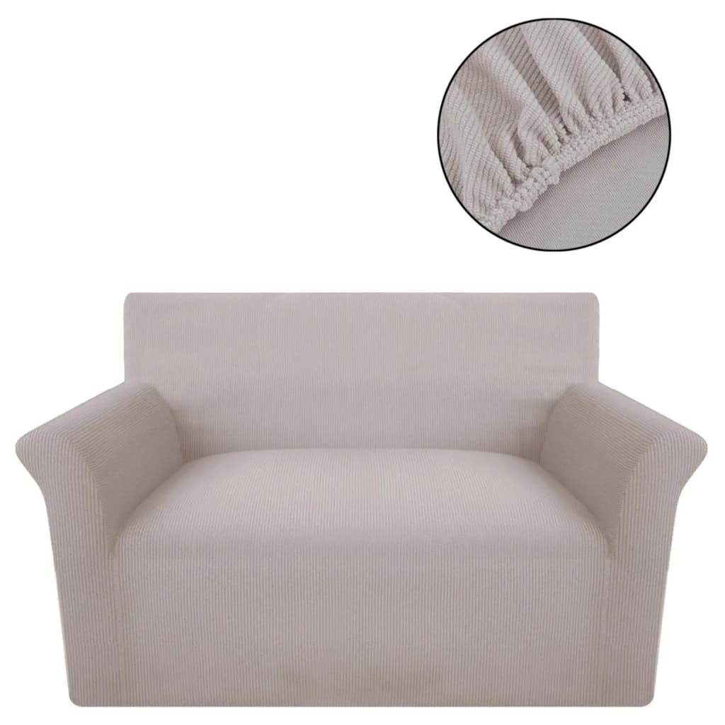 der sofahusse sofabezug stretchhusse beige polyester rippstrick online shop. Black Bedroom Furniture Sets. Home Design Ideas