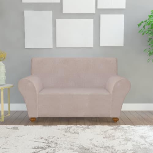 Housse de canap fauteuils 2 places sofa en polyester jersey extensible beige - Housse fauteuil main ...