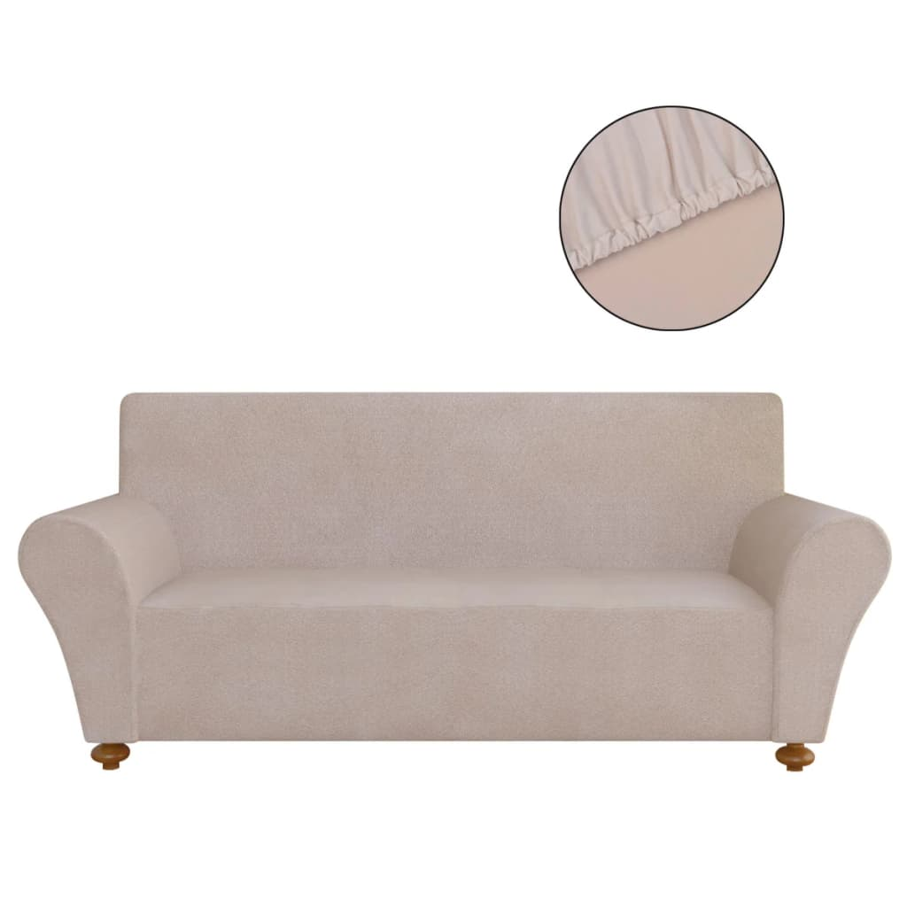 vidaxl stretch couch slipcover beige polyester jersey. Black Bedroom Furniture Sets. Home Design Ideas