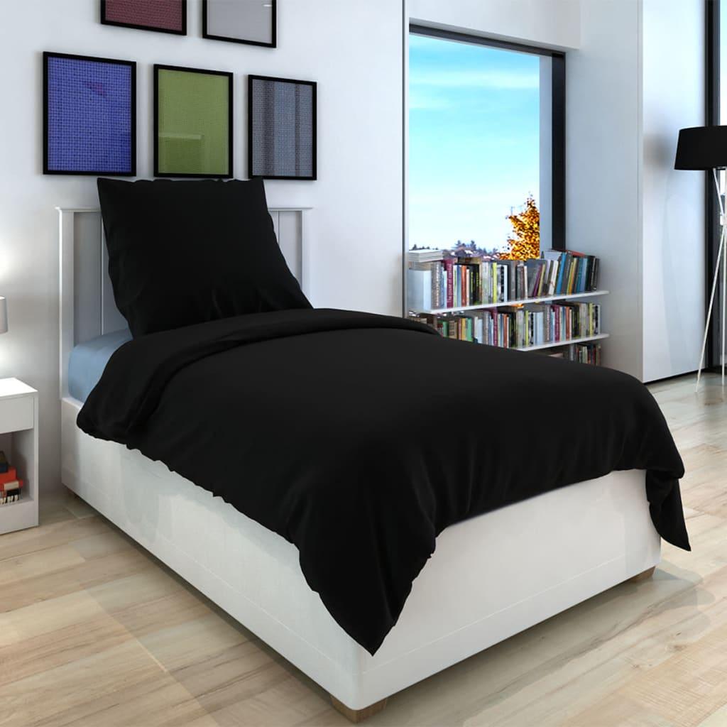 vidaXL 3 darabos pamut lepedő szett 200x200/80x80 cm fekete