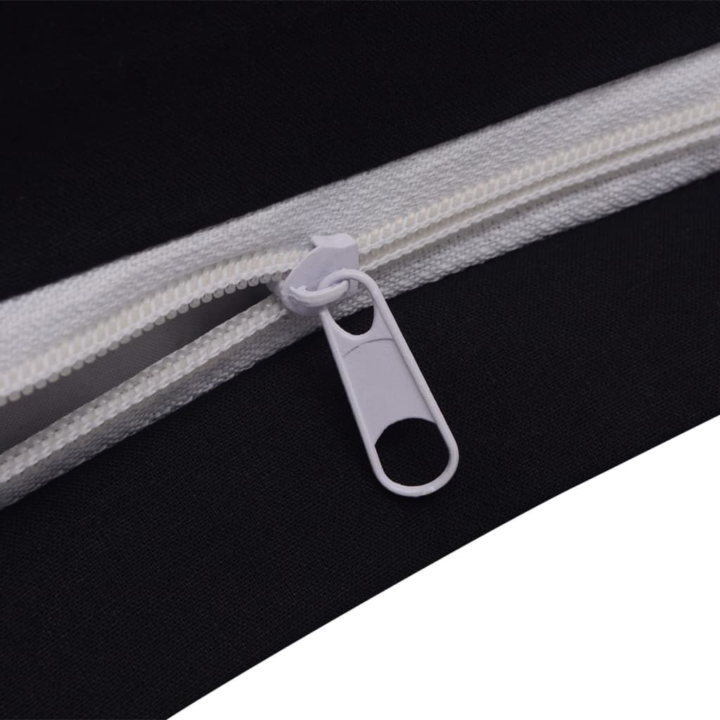 vidaxl trois pi ces housse de couette en coton noir 200x220 80x80 cm. Black Bedroom Furniture Sets. Home Design Ideas